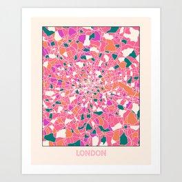 London England Colorful Map Art Print