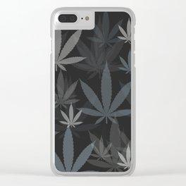Marijuana Cannabis Weed Pot Grey Tones Clear iPhone Case