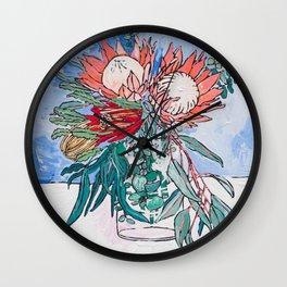 Painterly Vase of Proteas, Wattles, Banksias and Eucayptus on Blue Wall Clock