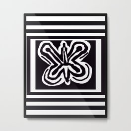 A Black and White Butterfly Metal Print