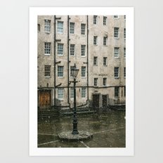 Lamppost and the Falling Snow Art Print