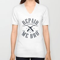battlefield V-neck T-shirts featuring Repair Me Bro by Head Glitch