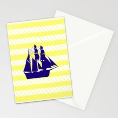 Blue Ship with Yellow Ropes Stationery Cards