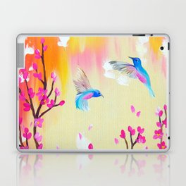 Hummingbirds with pink and yellow Laptop & iPad Skin