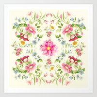 folk Art Prints featuring folk floral by clemm