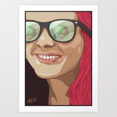 Girl with glasses Art Print