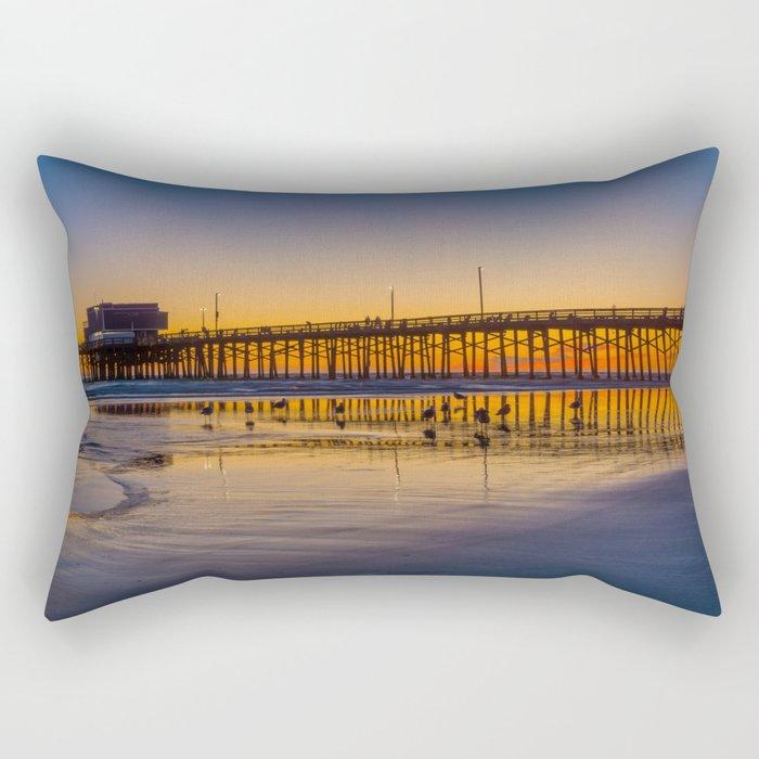 Seagulls at Sunset at Newport Pier Rectangular Pillow