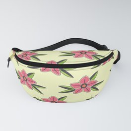 Hand Drawn Old School Tattoo Flower - Light Yellow Fanny Pack