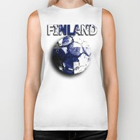 finland Biker Tanks featuring Old football (Finland) by seb mcnulty