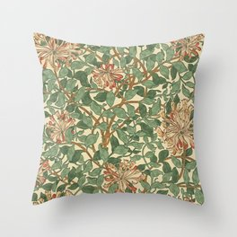 William Morris Honeysuckle Design - Darker Version Throw Pillow