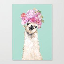 Llama with Beautiful Flower Crown Canvas Print