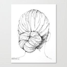 Line Art Print - Low Bun Canvas Print