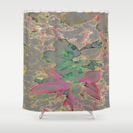 Block Floral-Gray Shower Curtain