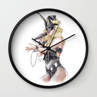 britney spears Wall Clocks featuring Britney Spears S&M by Eduardo Sanches Morelli