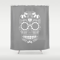 sugar skull Shower Curtains featuring Sugar skull by TAM ♡