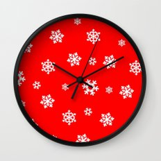 Snowflakes (White on Red) Wall Clock