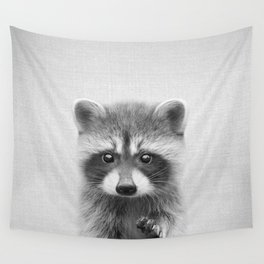Raccoon - Black & White Wall Tapestry