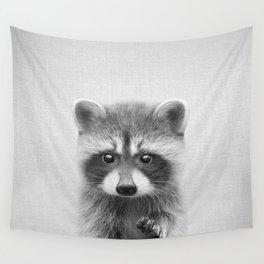 Raccoon - Black & White Wandbehang