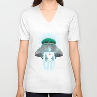 castle in the sky V-neck T-shirts featuring Night Castle in the Sky by Vincent Trinidad