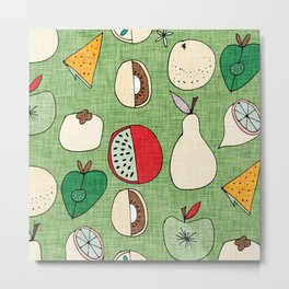 Mod Fruit Green Metal Print