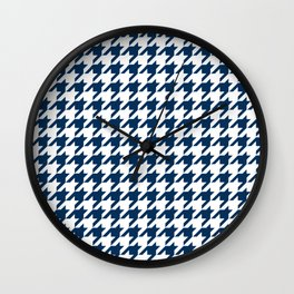 Blue, Navy: Houndstooth Checkered Pattern Wall Clock