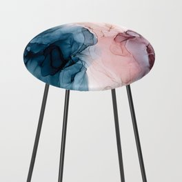 Pastel Plum, Deep Blue, Blush and Gold Abstract Painting Counter Stool