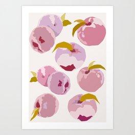 Pink Peaches Pattern by The Botanical Study Art Print