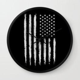 White grunge American flag Wall Clock