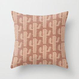 Mid Century Modern Desert Cactus Pattern 853 Saddle Brown and Tan Throw Pillow