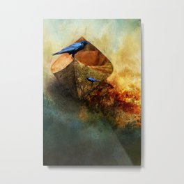 Beached Crow Metal Print