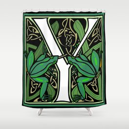 Celtic Nouveau Frog Letter Y 2018 Shower Curtain