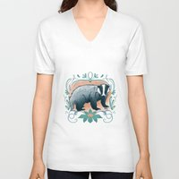 badger V-neck T-shirts featuring Badger by Monkah