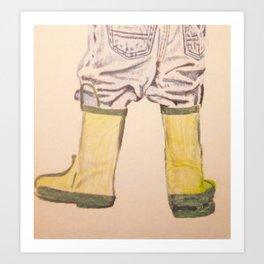 Child in Rainboots Art Print