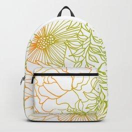 Tangerine and Olive Flowery Linocut Wreath Backpack