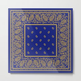 Blue and Gold Bandana Metal Print