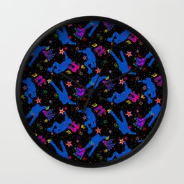 Neon Silhouette Roller Skater Pattern Wall Clock