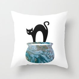 Black Cat In The Alley Throw Pillow Throw Pillow