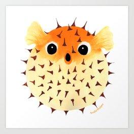 Orange Puffed Pufferfish Art Print