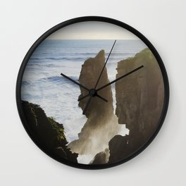 golden hour at the pancake rocks Wall Clock