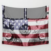 vw bus Wall Tapestries featuring VW Rusty USA by Alice Gosling