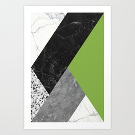 Black and White Marbles and Pantone Greenery Color Art Print