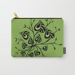 Abstract Floral With Pointy Leaves In Black And Greenery Carry-All Pouch