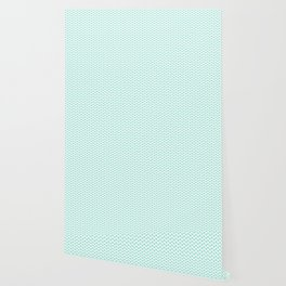 Aqua Blue Lipstick Kisses on White Wallpaper