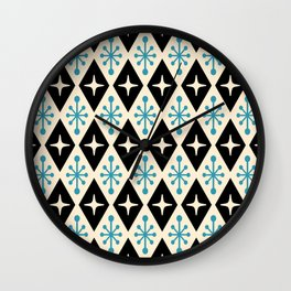 Mid Century Modern Atomic Triangle Pattern 922 Black and Blue Wall Clock