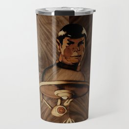 Original Leonard Nimoy (mr. Spock) on enterprise series of wood by Andulino Travel Mug