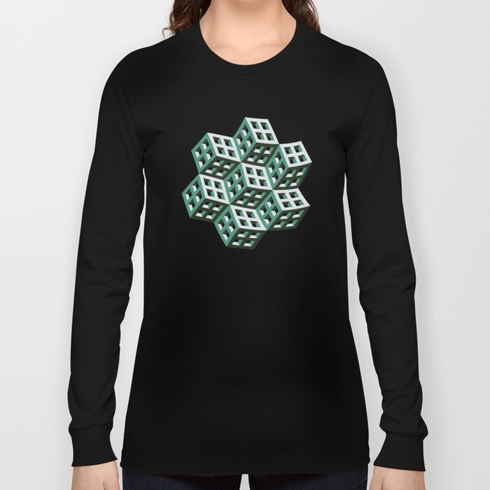 Abstract twisted cubes Long Sleeve T-shirt