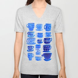 Coffee Mugs and Teacups - A study in blues Unisex V-Neck