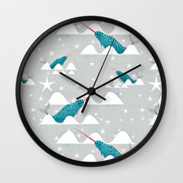 Sea unicorn - Narwhal grey Wall Clock