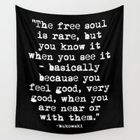 font Wall Tapestries featuring Charles Bukowski Typewriter White Font Quote Free Soul by Fligo