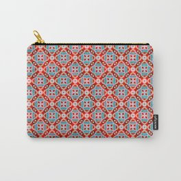 Retro Kitchen Check Cloth , Vintage Red & Blue Chequerboard Daisy flower Pattern Carry-All Pouch
